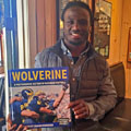 Vincent Smith with University of Michigan football gift picture book WOLVERINE: A Photographic History of Michigan Football, Vol. 1